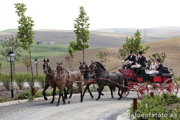 Boda de Arancha y Rafael en Córdoba. Los novios se van en el coche de caballos. Reportaje fotográfico de De la Fuente Fotografía